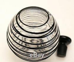 Steuben Art Glass Black Threaded Perfume Bottle #6619