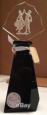 Stunning Vintage Opaque Black Czechoslovakian Perfume Bottle withDancers