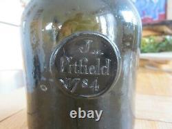 Superb J Pitfield 1784 Black Glass Sealed Squat Cylinder Wine Bottle Dorset
