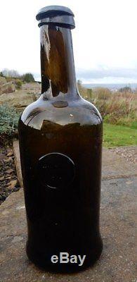 T Coltin / Colton 1804 dated sealed black glass pontilled wine bottle. Unique