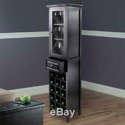 Tall Bar Cabinet Stand Tower Wine Liquor Bottle Holder Glass Rack Glass Door