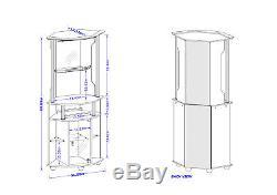 Tall Black Corner Bar Cabinet Hanging Wine Bottle Rack Shelf Glass Doors Wood