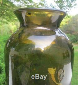 Tall Heavy Antique Black Glass French Food Storage Jar with Pontil Good Condtion