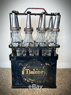 Tiolene Auto Motor Oil Rack Display With Glass Bottles Ultra Rare & Original