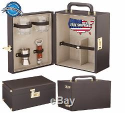 Travel Bar Set Kit Leather Liquor Briefcase 2 Bottle Glasses Drink Gift Black
