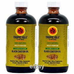 Tropic Isle Living Jamaican Black Castor Oil Healing 8oz(Pack of2)Glass bottles