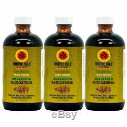 Tropical Isle Living Jamaican Black Castor Oil 8 oz (Pack of 3) Glass Bottles