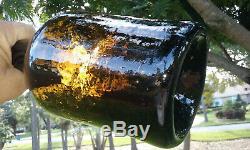 Tumbled 1790's Large Antique Black Glass Quart! 9 Tall! Just Beautiful