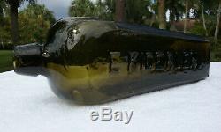 Tumbled 1800's Antique E. Kiderlen Black Glass Gin Bottle! Stunning