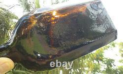 Tumbled 1860's 10 Antique Black Glass Whiskey Bottle! Very Unusual Shape
