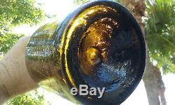Tumbled Black Glass 1770-1830's Quart Size Antique Liquor Bottle! Cruuuude