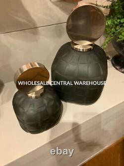 Two XXL Etched Charcoal Black Art Glass Decorative Vases Bottles Modern Top