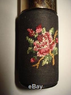 Unique Vintage Black Glass Overlay Empty Pompadour Perfume Bottle Petit Point