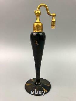 Unusual Art Deco Perfume Bottles DE VILBISS Black Gold Glass