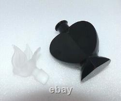 VINTAGE CZECH ART DECO BLACK GLASS PERFUME BOTTLE with Bird DAUBER