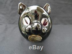 VINTAGE SEGUSO BISCHOFF BLACK CAT BOTTLE Murano Art Glass