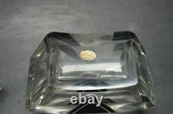 VTG Art Deco Modernism Clear Glass Perfume Bottle with Black Enamel K Palda