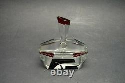 VTG Art Deco Modernism Clear Glass Perfume Bottle with Black Red Enamel K Palda