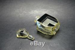 VTG Czech Art Deco Citrine Glass Black Enamel Perfume Bottle Karl Palda