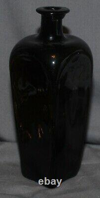 Very nice quality Dutch black glass TALL pig snout gin bottle ca. 1700s