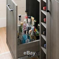 Vietti Bar Cabinet with Bottle and Glass Storage, Multiple Finishes