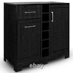 Vietti Home Bar Cabinet with Bottle Glass Storage & Drawers in Black Oak Finish