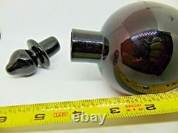 Vintage 1920's Czech Black Glass Scent or Perfume Bottle 5.5 tall
