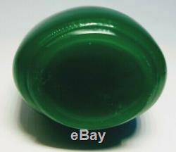 Vintage 1920s Chinese Peking Green Glass Snuff Bottle With Black Top