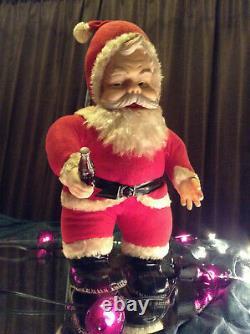 Vintage 1956 Rushton Coca-Cola Santa withMiniature Glass Bottle and Black Boots