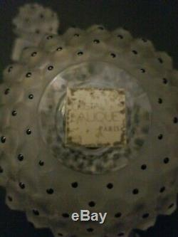 Vintage 4 / 10cm Lalique CACTUS Frosted Crystal Black Perfume Bottle Flacon NR