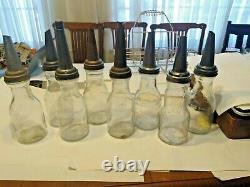 Vintage 8 Glass Oil Bottles And Metal Carrier Rack
