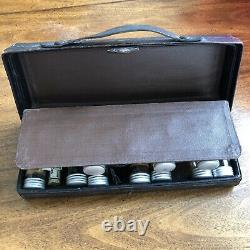 Vintage Apothecary 20 Glass Bottle Dr.'s Medicine Black Leather Travel Case