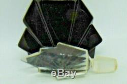 Vintage Art Deco Czech Black Glass & Crystal Scent or Perfume Bottle 4.5 tall