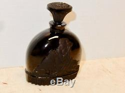 Vintage Black Cameo Glass Circe Moiret Perfume Bottle Excellent
