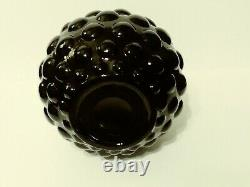 Vintage Black Empoli/Encased Glass/Short Genie Bottle Bubble Hobnail Decanter