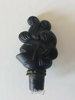 Vintage Black Glass Knight perfume bottle Chevalier de la Nuit by Ciro figural