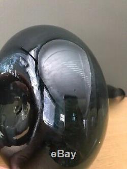 Vintage Blenko Charcoal Black 5815 Genie Bottle Decanter Husted Black Etch Logo