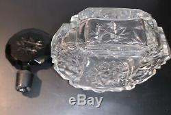 Vintage Clear Art Deco Perfume Bottle Opaque Black Stopper Czechoslovakian