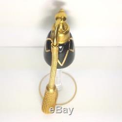 Vintage DeVilbiss Glass Perfume Bottle Atomizer Black Gold Volupte Gironde 1920s