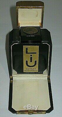 Vintage Guerlain Black Glass Baccarat Style Perfume Bottle/Box Liu Empty/Open 3