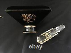 Vintage Hattie Carnegie Black Glass Inkwell Style Perfume Bottle