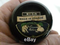 Vintage Jeanne Lanvin Perfume Bottle My Sin Black Glass/Stopper