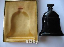 Vintage Molinard Paris Xmas Bells Empty Black Glass Perfume Bottle, With Box