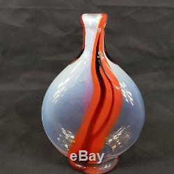 Vintage Murano Glass Opalescent Bottle Vase Orange & Black Streaks 26cm High