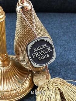 Vintage NEW Marcel Franck Paris Black Glass GOLD GILT Brass PERFUME BOTTLE SGDG