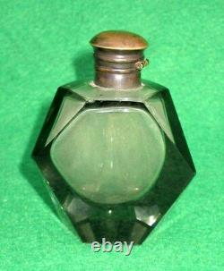 Vintage Old Rare Solid Heavy Art Deco Cut Glass Black Perfume Bottle Collectible