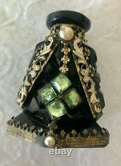 Vintage Opaque Black Czechoslovakian Perfume Bottle
