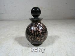 Vintage Round Black Glass Gold Glitter Perfume Bottle