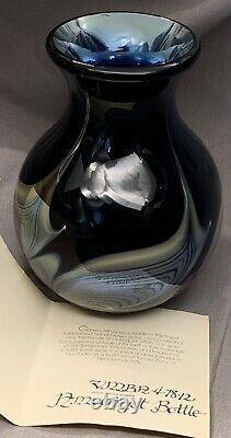 Vintage Steven Correia Amethyst Bottle Vase Signed 1978