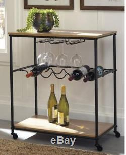 Vintage Wood Metal Wine Kitchen Cart 5-Bottles Glass Holder Serving Rolling Bar